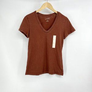 Women's Rust Color V Neck Tee Size XS New With Tag